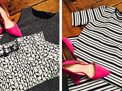 Li'z collection of Anny Taylor business clothes and Banana Republic bright pink heels
