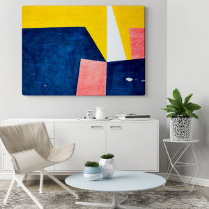 a modern living room with a white credenza and a large abstract painting on the wall