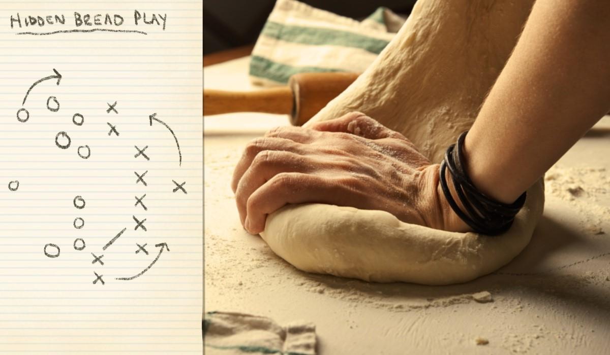 hand kneading bread dough