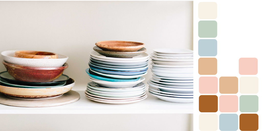 Three stacks of plates and bowls
