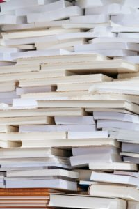 A large stack of books