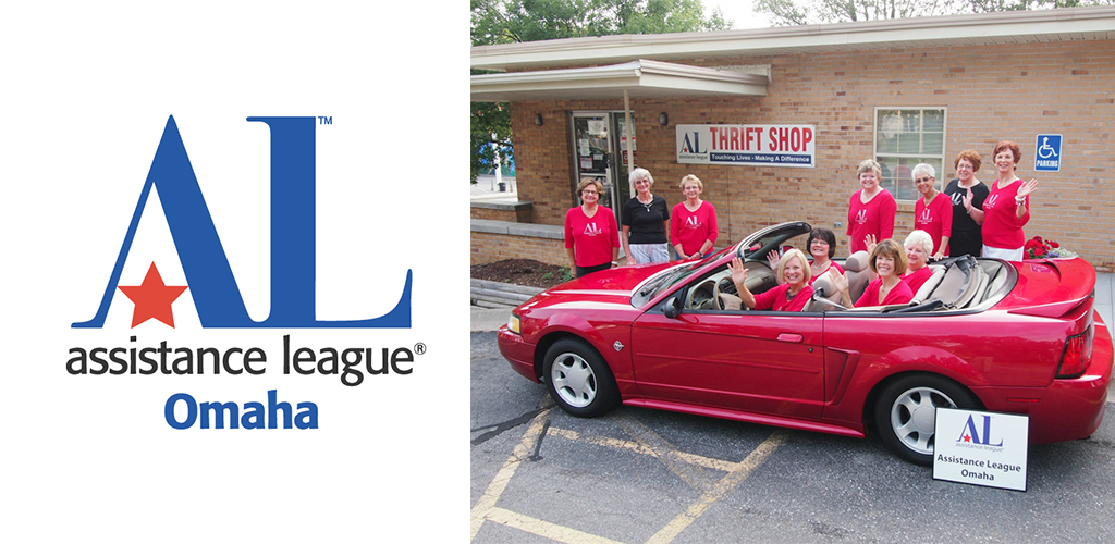 Women in a red convertible, in front of the Assistance League Thrift Shop