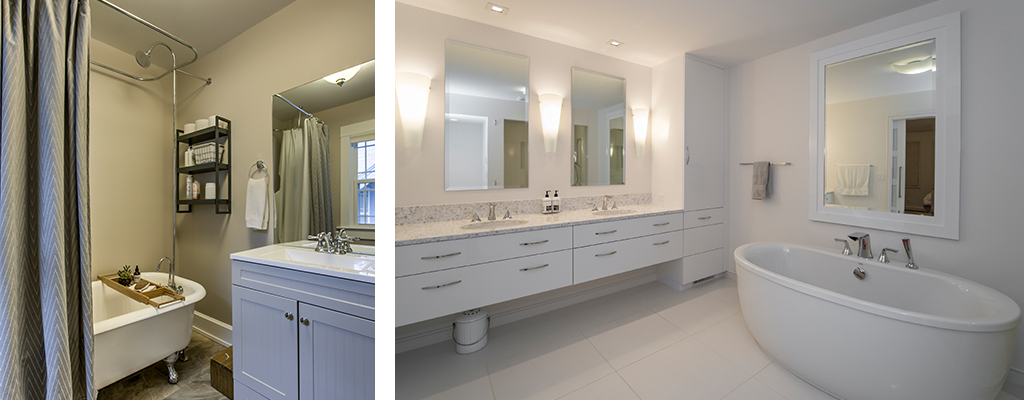 left photo: an older bathroom with a claw-foot tub, nicely decorate. Right photo: a white modern bathroom with a soaking tub and a double vanity.