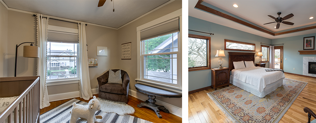 left photo: a child's bedroom with a rocking-sheep, right photo: an adult bedroom with wood floors and a rug