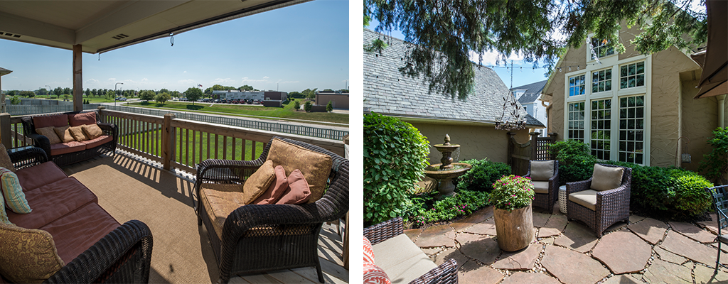 left photo: a cover deck, right photo: a stone patio with a fountain