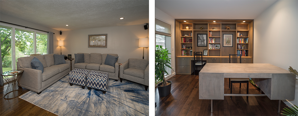 left photo: a bright living room with beige couches and a blue and cream rug. Right photo: a modern office with a large desk and built-in shelves with lighting. A large plant is in the corner.