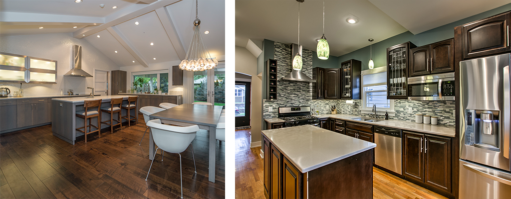 left photo: A modern grey kitchen, with lit cupboards, and a sleek metal hood. Right photo: a more classic kitchen with dark cabinets, green walls, and a green and cream tile backsplash.