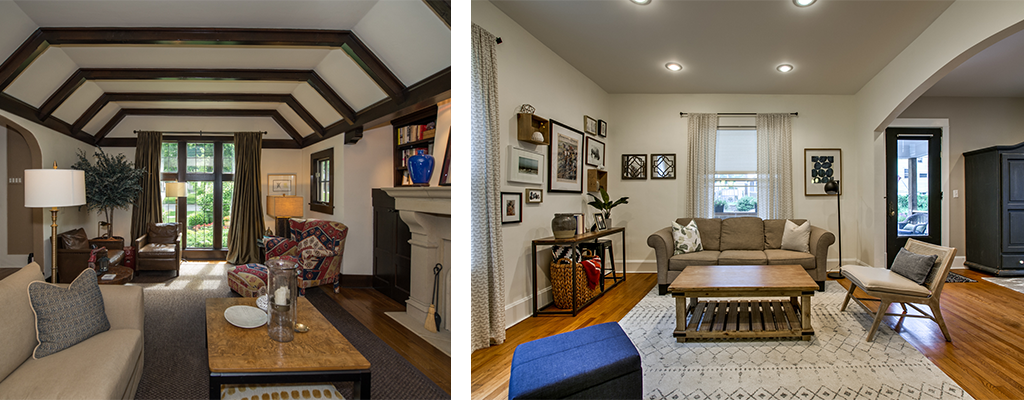 left photo: a living room with dark wood beams. Right photo: a living room with a cream rug and art on the walls